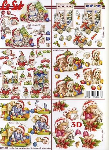 3D Bogen / Nouvelle 8215-....., Tiere - Hunde,  Winter - Schneemänner,  Le Suh,  Weihnachten,  3D Bogen,  Baumkugeln,  Katze,  Hund,  Schneemann,  Weihnachtsstern