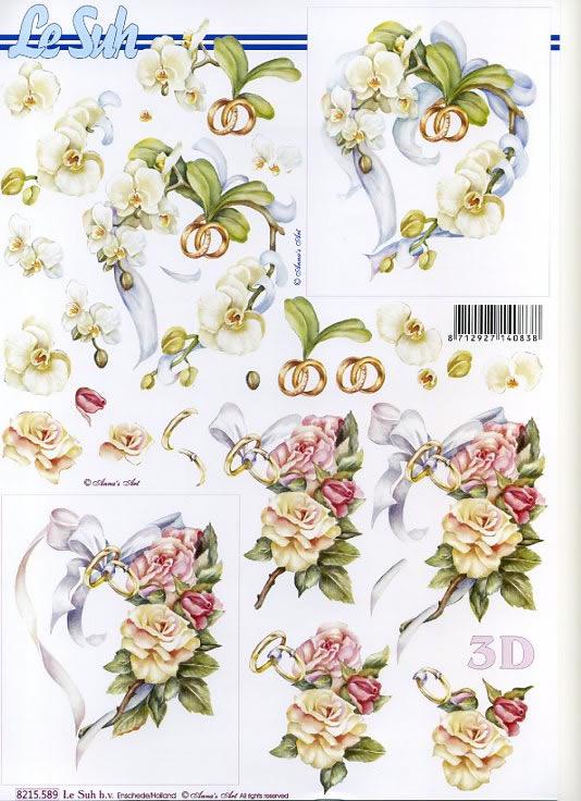3D Bogen,  Ereignisse - Hochzeit,  3D Bogen,  Blumen und Ringe