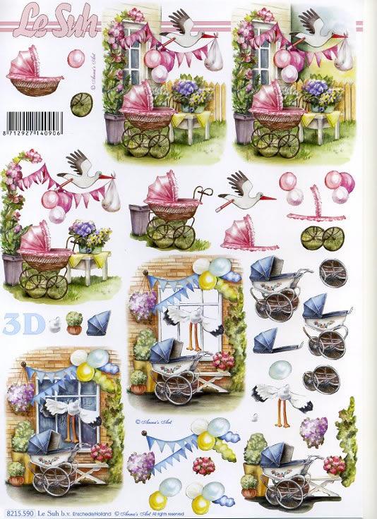 3D Bogen Kinderwagen rosa+blau - Format A4,  Ereignisse - Geburt,  Le Suh,  3D Bogen,  Geburt