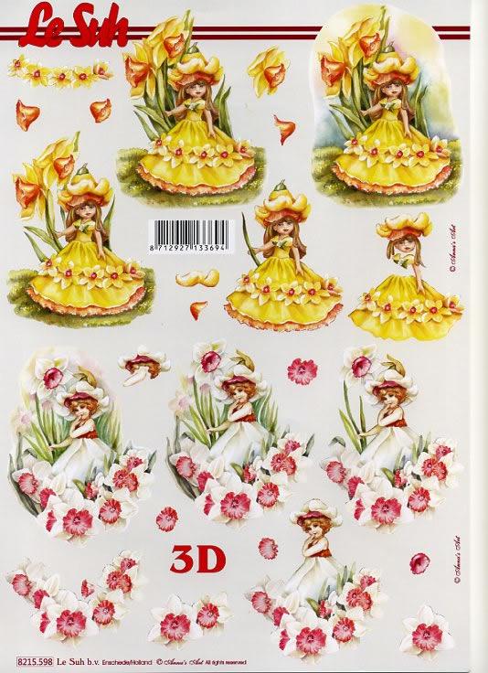 3D Bogen 2x Blumenmädchen - Format A4,  Blumen -  Sonstige,  Le Suh,  3D Bogen,  Elfen