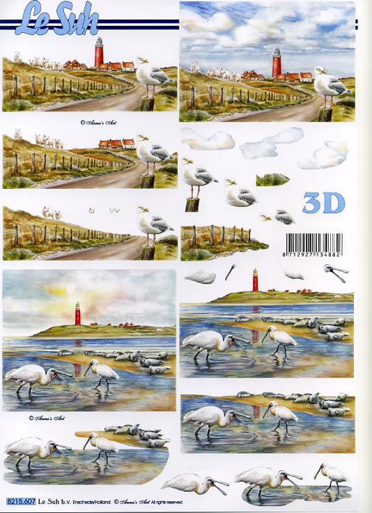3D Bogen Leuchtturm+Möwen - Format A4,  Le Suh,  3D Bogen,  Möwen,  Strand,  Leuchtturm