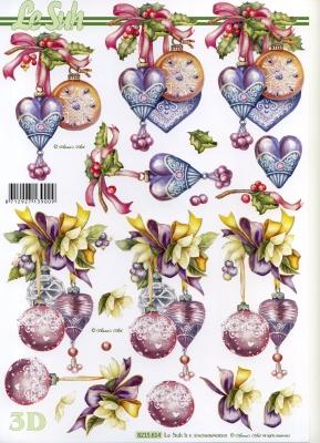 3D Bogen / Nouvelle,  Weihnachten - Baumschmuck,  Le Suh,  3D Bogen,  Baumkugeln,  Herz