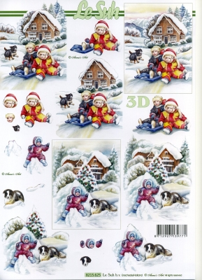 3D Bogen Weihnachten mit Schnee - Format A4,  Winter - Schnee,  Le Suh,  3D Bogen,  Hunde,  Haus