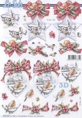 3D Bogen Weihnachtsstern mit Vogel - Format A4,  Tiere - Vögel,  Le Suh,  3D Bogen,  Herz,  Schleife