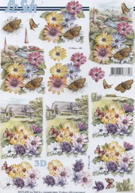 3D Bogen,  Blumen -  Sonstige,  Le Suh,  3D Bogen,  Wiese,  Garten,  Haus,  Schmetterlinge