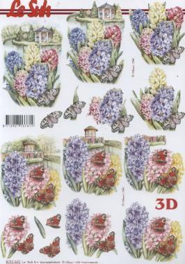 3D Bogen / Nouvelle 8215-.....,  Blumen - Hyazinthen,  Le Suh,  3D Bogen,  Blumen,  Schmetterlinge