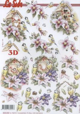 3D Bogen Vogelhaus - Format A4,  Blumen -  Sonstige,  Le Suh,  3D Bogen,  Vogelhaus,  Blumen,  Vögel