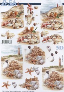 3D Bogen Muscheln + Leuchtturm - Format A4,  Regionen - Strand / Meer - Muscheln,  Le Suh,  3D Bogen,  Seestern,  Muscheln,  Möwen,  maritim