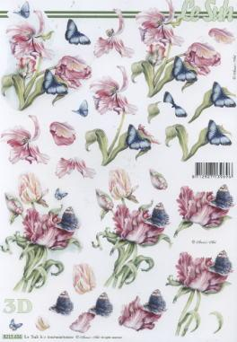 3D Bogen Tulpen mit Schmetterling - Format A4,  Blumen - Tulpen,  Le Suh,  3D Bogen,  Tulpen