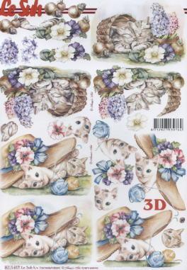 3D Bogen Katze mit Blumen - Format A4,  Tiere - Katzen,  Le Suh,  3D Bogen,  Katzen,  Hut