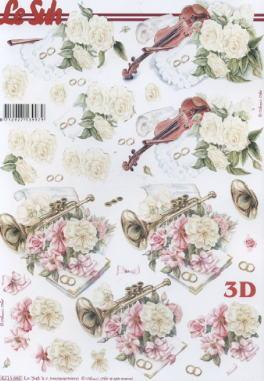3D Bogen Hochzeit Violine-Trompete - Format A4, Sonstiges - Musik,  Ereignisse - Hochzeit,  Le Suh,  3D Bogen,  Hochzeit,  Musik,  Geige,  Trompete,  Rosen