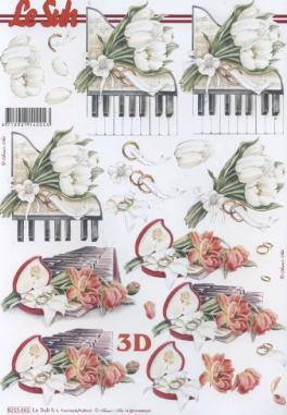 3D Bogen / Nouvelle 8215-....., Sonstiges - Musik,  Blumen - Tulpen,  Le Suh,  3D Bogen,  Tulpen,  Klavier
