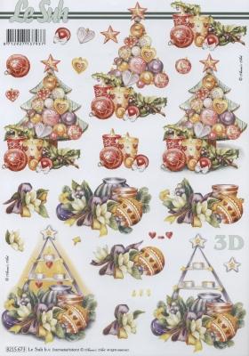 3D Bogen  - Format A4, Weihnachten - Weihnachtsbaum,  Weihnachten - Baumschmuck,  Le Suh,  Weihnachten,  3D Bogen,  Weihnachtsbaum,  Baumkugeln,  Kerzen
