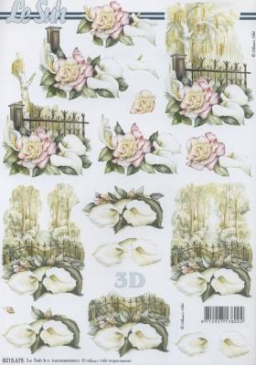 3D Bogen Kondolenz - Format A4,  Le Suh,  Sommer,  3D Bogen,  Blumen,  Trauer