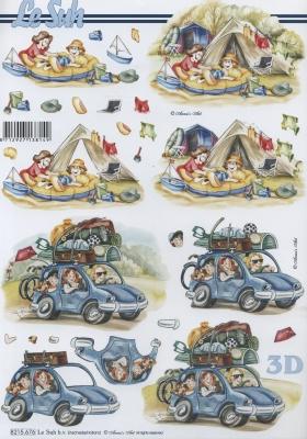 3D Bogen nach Jahreszeiten, Sonstiges -  Sonstiges,  Fahrzeuge - Autos,  Le Suh,  Sommer,  3D Bogen,  Urlaub,  Zelt,  camping