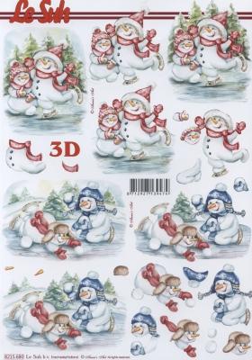 3D Bogen  - Format A4,  Winter - Schneemänner,  Le Suh,  Winter,  3D Bogen,  Schneemann