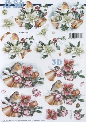 3D Bogen  - Format A4, Tiere - Vögel,  Weihnachten - Glocken,  Le Suh,  Weihnachten,  3D Bogen,  Glocken,  Vögel