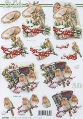 3D Bogen Vögel+Instrumente - Format A4, Sonstiges - Musik,  Tiere - Vögel,  Le Suh,  Winter,  3D Bogen,  Vögel,  Instrumente
