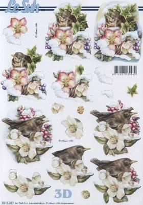 3D Bogen  - Format A4,  Blumen - Christrosen,  Le Suh,  Winter,  3D Bogen,  Christrosen,  Vögel
