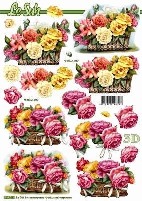 3D Bogen Blumen im Korb - Format A4,  Blumen - Rosen,  Le Suh,  Sommer,  3D Bogen,  Rosen,  Korb