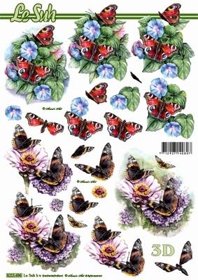 3D Bogen Blumen+Schmetterlinge - Format A4,  Tiere - Schmetterlinge,  Le Suh,  Sommer,  3D Bogen,  Schmetterlinge