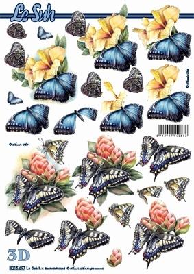 3D Bogen Blumen + Schmetterlinge - Format A4,  Tiere - Schmetterlinge,  Le Suh,  Sommer,  3D Bogen,  Schmetterlinge