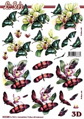 3D Bogen Blumen+ Schmetterlinge - Format A4,  Tiere - Schmetterlinge,  Le Suh,  Sommer,  3D Bogen,  Schmetterlinge