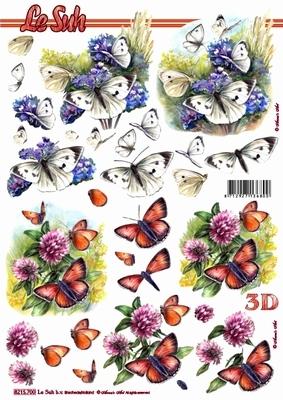 3D Bogen Schmetterlinge weiß - Format A4,  Tiere - Schmetterlinge,  Le Suh,  Sommer,  3D Bogen,  Schmetterlinge