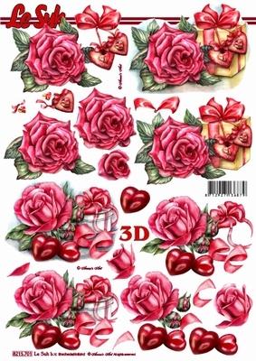 3D Bogen Rosen+Herzen - Format A4,  Blumen - Rosen,  Le Suh,  Sommer,  3D Bogen,  Rosen