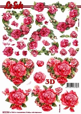 3D Bogen Rosenherzen - Format A4, Ereignisse - Liebe,  Blumen - Rosen,  Le Suh,  Sommer,  3D Bogen,  Rosen,  Liebe,  Herz