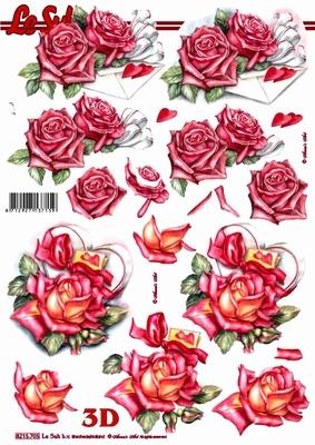 3D Bogen Rosen und Briefumschlag - Format A4, Ereignisse - Liebe,  Blumen - Rosen,  Le Suh,  Sommer,  3D Bogen,  Rosen,  Liebe,  Brief,  Herz