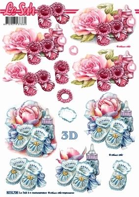 3D Bogen Babyschuhe - Format A4,  Ereignisse - Geburt,  Le Suh,  Frühjahr,  3D Bogen,  Geburt,  Baby,  Jungen,  Mädchen