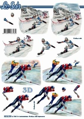3D Bogen Format A4 - Snowborder + Eisläufer - Format A4,  Sport -  Sonstiger,  Le Suh,  Winter,  3D Bogen,  Ski
