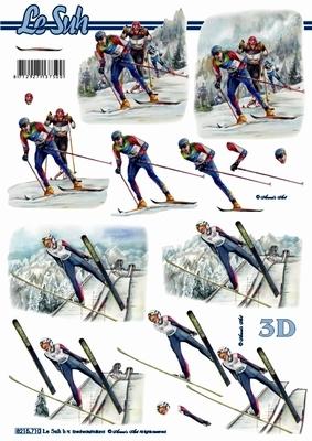 3D Bogen Format A4 - Skifahrer - Format A4,  Sport -  Sonstiger,  Le Suh,  Winter,  3D Bogen,  Ski