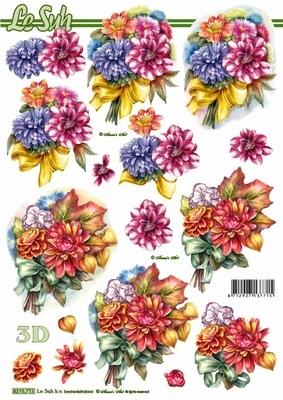 3D Bogen Blumenstrauß - Format A4,  Blumen - Dahlien,  Le Suh,  Sommer,  3D Bogen,  Dahlien,  Blumenstrauß