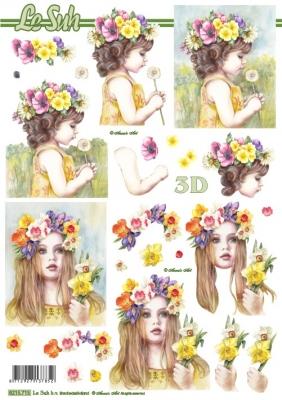 3D Bogen / Nouvelle 8215-.....,  Menschen - Kinder,  Le Suh,  Sommer,  3D Bogen,  Mädchen,  Blumen