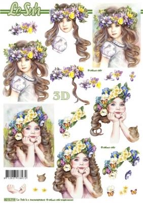 3D Bogen Kinder mit Blumen im Haar - Format A4,  Menschen - Kinder,  Le Suh,  Sommer,  3D Bogen,  Mädchen,  Blumen