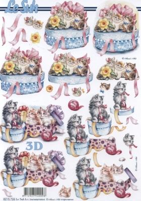 3D Bogen Geschenkdose mit Katzen Format A4 - Format A4, Weihnachten - Geschenke,  Tiere - Katzen,  Le Suh,  Frühjahr,  3D Bogen,  Katzen,  Geschenke