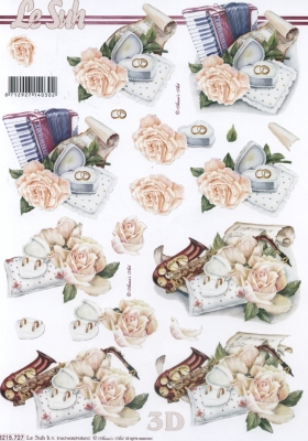3D Bogen Musik+Rose Format A4 - Format A4