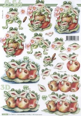 3D Bogen Frösche mit Äpfel Format A4 - Format A4, Früchte - Äpfel,  Tiere - Frösche,  Le Suh,  Herbst,  3D Bogen,  Frosch,  Äpfel
