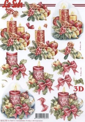 3D Bogen Weih.-Kerze Format A4 - Format A4,  Weihnachten - Kerzen,  Weihnachten,  3D Bogen,  Kerzen