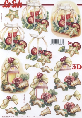 3D Bogen Weih.Laterne+Kerze Format A4 - Format A4,  Weihnachten - Glocken,  Le Suh,  Weihnachten,  3D Bogen,  Glocken,  Laterne