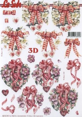 3D Bogen Weih.Herzen+Schleife Format A4 - Format A4,  Sonstiges -  Sonstiges,  Le Suh,  Weihnachten,  3D Bogen,  Herz,  Schleife