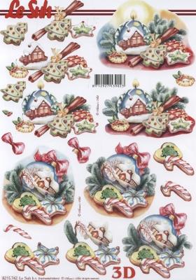 3D Bogen Weih.Kugeln+Kerze Format A4 - Format A4, Weihnachten - Kerzen,  Weihnachten - Baumschmuck,  Le Suh,  Weihnachten,  3D Bogen,  Baumkugeln,  Kerzen