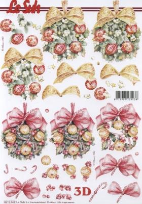 3D Bogen Weih.- Kranz Format A4 - Format A4,  Weihnachten - Baumschmuck,  Le Suh,  Weihnachten,  3D Bogen,  Baumkugeln