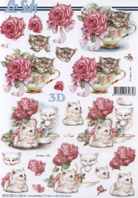 3D Bogen Katze+Tasse+Blumen Format A4 - Format A4,  Blumen - Rosen,  Tiere - Katzen,  Sommer,  3D Bogen,  Katzen,  Rosen