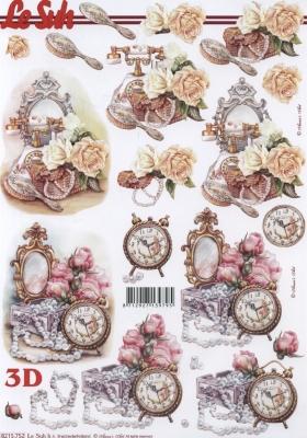 3D Bogen Uhr+Blumen+Spiegel Format A4 - Format A4,  Sonstiges -  Sonstiges,  Le Suh,  3D Bogen,  Uhr,  Spiegel
