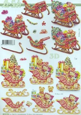 3D Bogen  - Format A4, Weihnachten - Geschenke,  Winter - Schlitten,  Le Suh,  Weihnachten,  3D Bogen,  Schlitten,  Geschenke