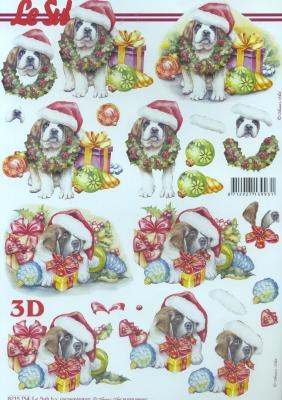 3D Bogen  - Format A4, Tiere - Hunde,  Weihnachten - Geschenke,  Le Suh,  Weihnachten,  3D Bogen,  Hunde,  Geschenke