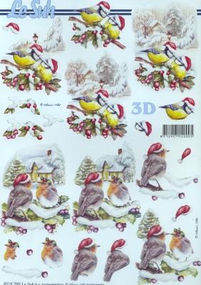 3D Bogen  - Format A4,  Winter - Schnee,  Le Suh,  Weihnachten,  3D Bogen,  Vögel